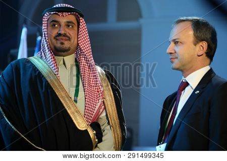 ST. PETERSBURG, RUSSIA - DECEMBER 25, 2018: Arkady Dvorkovich, FIDE President (right) and Prince Fahd bin Jalawi bin Abdul Aziz, executive director at the Saudi Arabian Olympic Committee