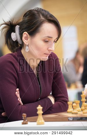 ST. PETERSBURG, RUSSIA - DECEMBER 28, 2018: Grandmaster Kateryna Lagno, Russia competes in King Salman World Rapid Chess Championship 2018. Eventually she took 7th place