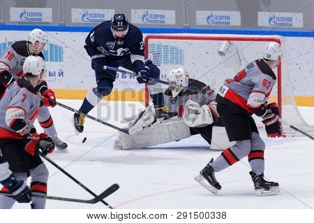 ST. PETERSBURG, RUSSIA - MARCH 20, 2018: Ice hockey match of Russian Supreme Hockey League Dynamo, St. Petersburg vs Metallurg, Novokuznetsk. Dynamo won this match of quarter-final series 3-0