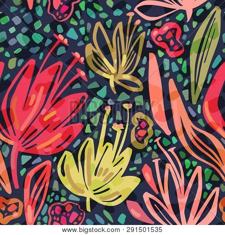 Vector Seamless Tropical Pattern With Bright Minimalistic Flowers On Dark Background, Vivid Colors F