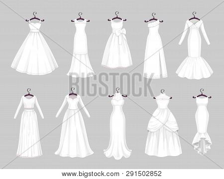 Wedding Dress On Hangers Isolated Icons Set. Vector Save The Date Greeting, Engagement And Marriage