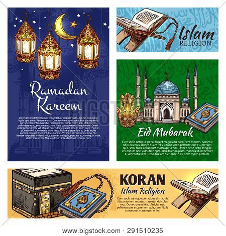 Islam Religion Ramadan Kareem And Eid Mubarak Festive Lantern, Muslim Mosque And Koran. Crescent Moo