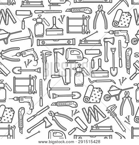 Construction Diy Tools Seamless Pattern. Vector Thin Line Tools Icons Background Of Handyman Carpent