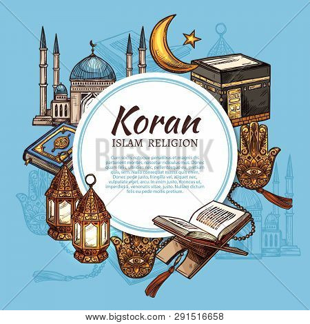 Islam Religion Symbols With Muslim Mosque And Koran Islamic Sacred Book Sketches. Ramadan Holiday La