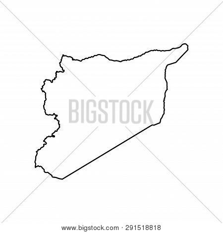 Vector Isolated Illustration Icon With Simplified Map Of Syrian Arab Republic (syria). Black Line Si