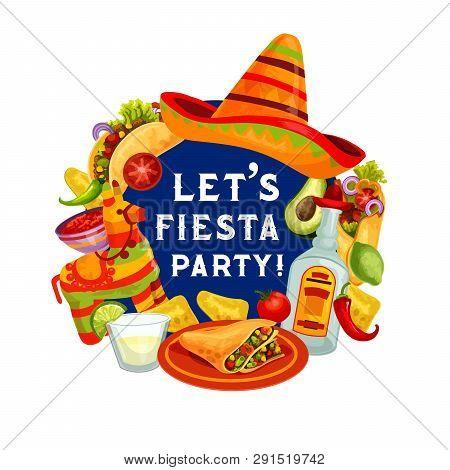 Cinco De Mayo Greeting Quote, Let Fiesta Party Mexican Holiday Poster. Vector Cinco De Mayo Celebrat