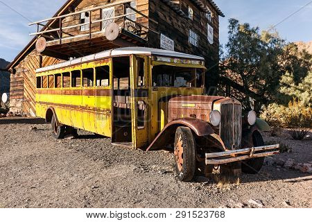 Nelson, Usa - November 22: Old Rusty Yellow Bus In Nelson Nevada Ghost Town On November 22, 2016