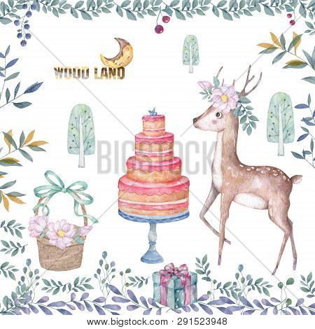 Cute Baby Deer With Tasty Cake Animal Isolated Illustration For Children. Bohemian Watercolor Boho F