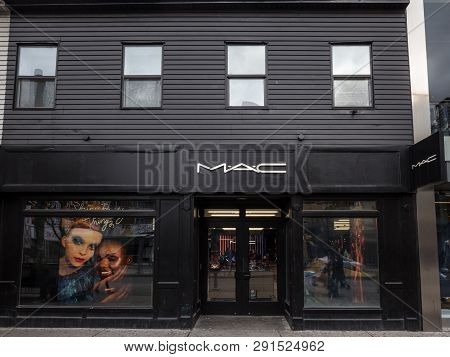 Toronto, Canada - November 13, 2018: Mac Cosmetics Logo On Their Main Store For Downtown Toronto, On