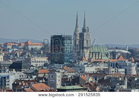 Zagreb, Croatia - March 22, 2019: Panorama Of The City Center With A View To The Intersection In Fro