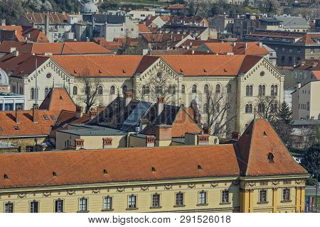 Zagreb, Croatia - March 22, 2019: Panorama Of The City Center With A View To The University Building