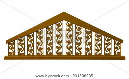 Golden Decorative Fence Isolated On White Background. Clipping Path Included.