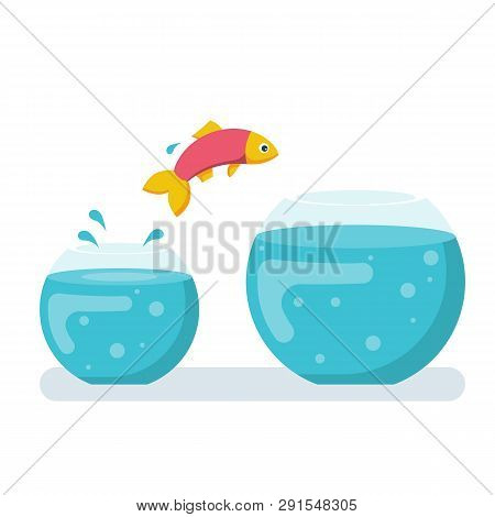 Potential Fish Jumping To Biger Fishbowl. Creative Solution. Innovation Way. Fish Jumping Out From S
