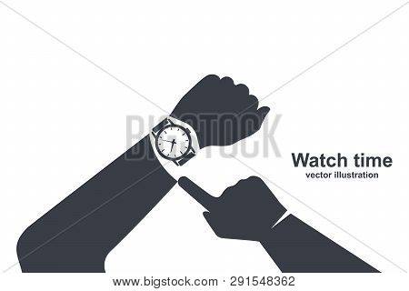 Looking Time Black Icon. Silhouette Human In A Suit Watching Time. Time Control. Vector Illustration