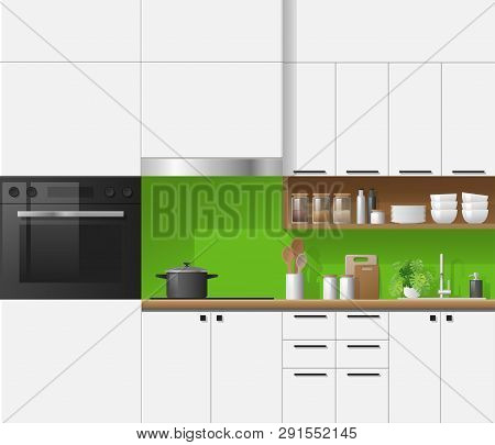 Modern White Kitchen With Green Background , Vector , Illustration