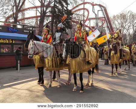 Almaty, Kazakhstan - March 21, 2019: Local People On The Horses At National Folkloric Show Nauryz In