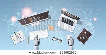 Robot Developer At Workplace Web Site Design Development Program Coding Concept Top Angle Desktop Vi