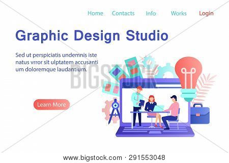 Graphic Design Studio Banner In Flat Style. Creative Designers Team Working Together On Laptop Scree