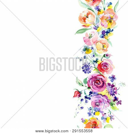 Pink Rose Bouquet Floral Botanical Flowers. Watercolor Background Illustration Set. Seamless Backgro