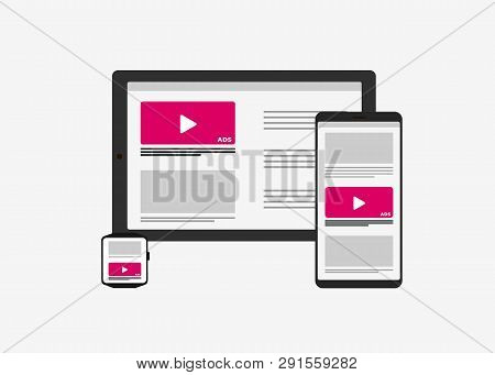 Programmatic Advertising - Cross-device And Multi Targeting Ads Marketing Strategy. Tablet Pc, Mobil
