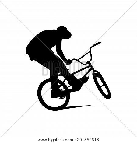 Abstract Silhouette Of A Bmx Rider On The White Background From Particles, Dust, Smoke, Steam. Bmx R