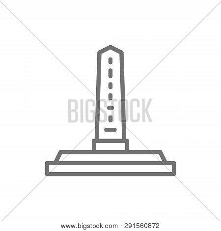 Egyptian Obelisks, Ancient Column Line Icon. Isolated On White Background
