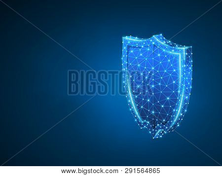 Security Shield Abstract Neon 3d Illustration. Polygonal Vector Business Concept Of Safety, Data Pro