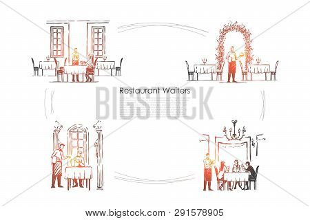 Restaurant Waiters - Waiters In Restaurants Getting Orders And Bringing Food Vector Concept Set. Han