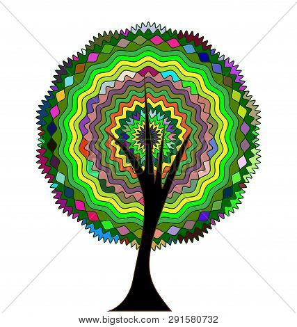 White Background And The Abstract Colored Round Tree