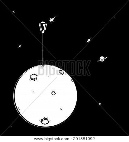 Black White Background Image Of Space With Abstract Lantern