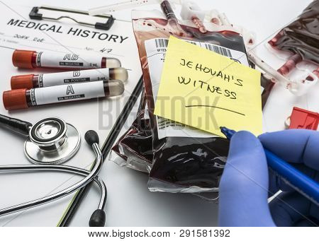 Doctor Writes Jehovah's Witness Note, Concept Of Denial Of Blood Transfusions, Conceptual Image, Hor