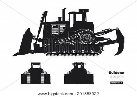Black Silhouette Of Bulldozer. Front, Side And Back View Of Digger. Building Machinery Image. Indust