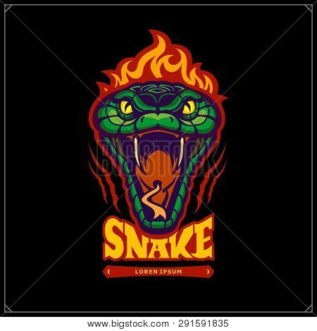 Green Aggressive Serpent With Burning Head. Snake Emblem. Vector Tattoo Design. Design For T-shirt,