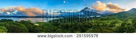 Panoramic view of Arenal Volcano and lake in central Costa Rica