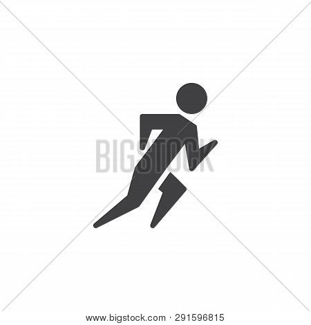 Track And Field Athlete Vector Icon. Filled Flat Sign For Mobile Concept And Web Design. Sprinter Ru