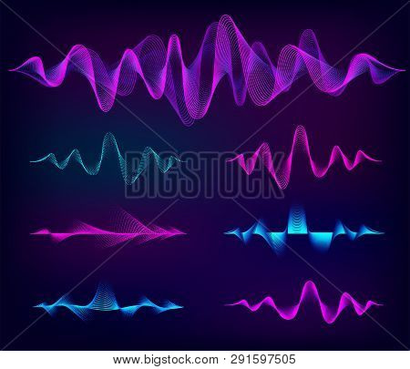 Wave Sound Vector Set. Music Soundwave Design, Color Elements Isolated On Dark Background. Radio Fre