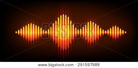 Neon Wave Sound Vector Background. Music Soundwave Design, Orange Light Elements Isolated On Dark Ba