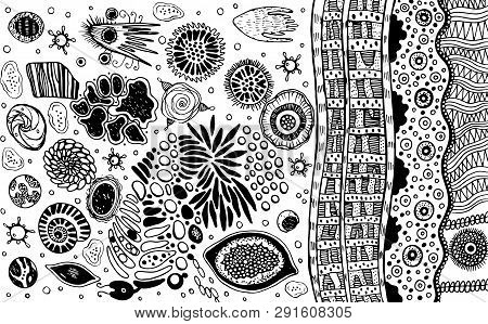 Psychedelic Abstract Ink Abstract Sketch. Surreal Weird Line Drawing For Design, Coloring Page For A