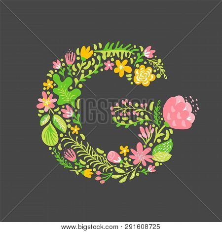 Floral Summer Letter G. Flower Capital Wedding Uppercase Alphabet. Colorful Font With Flowers And Le