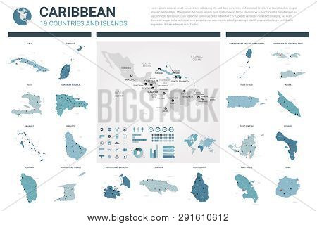 Vector Map Set.  High Detailed 19 Map Of Caribbean Countries With Administrative Division And Cities