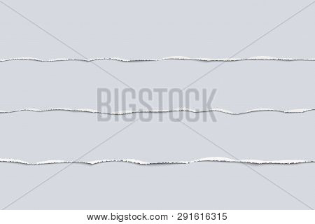 Torn Paper Strip Set Realistic Vector Illustration Tear Paper Edges For Banner, Header, Divider And