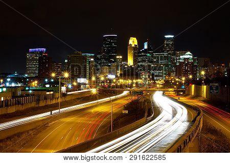 Minneapolis, Usa - January 5, 2015: Minneapolis. Image Of Minneapolis Skyline And Highway With Traff