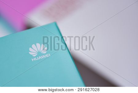 Bangkok, Thailand - January 28, 2019 : New Package Box Huawei Smartphone With White Huawei Logo On T