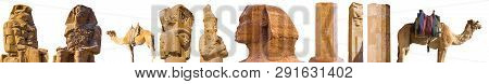 Super Set Egypt Landmarks On A White Isolated Background. The Ruins Of The Temple, Colossi Of Memnon