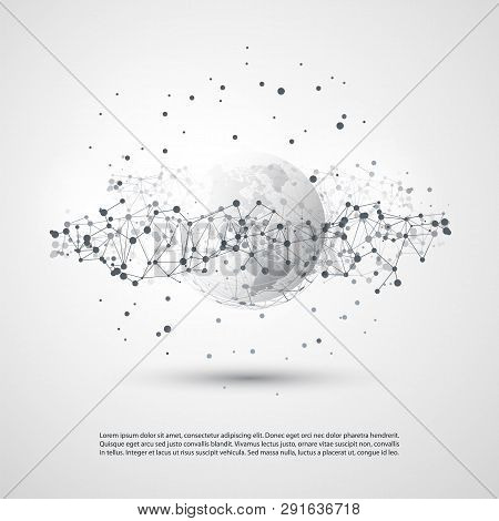 Black And White Modern Minimal Style Cloud Computing, Networks Structure, Telecommunications Concept