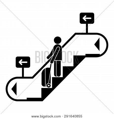 Man Bag Travel Escalator Down Icon. Simple Illustration Of Man Bag Travel Escalator Down Icon For We