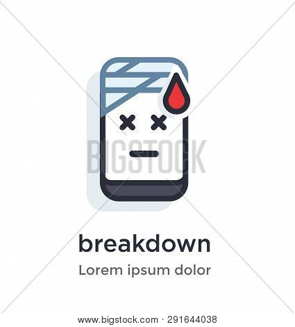 Emotion phone crack, broke, repair, injury, treatment illustration Icon. Landing page site print poster video animation. poster