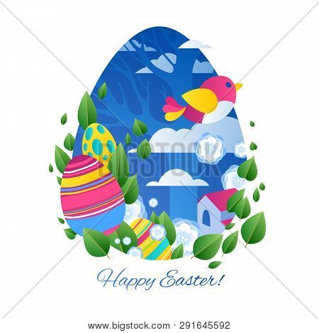 Happy Easter Greetings Illustration With Eggs And City. Colorful Spring Holidays Design With Flowers