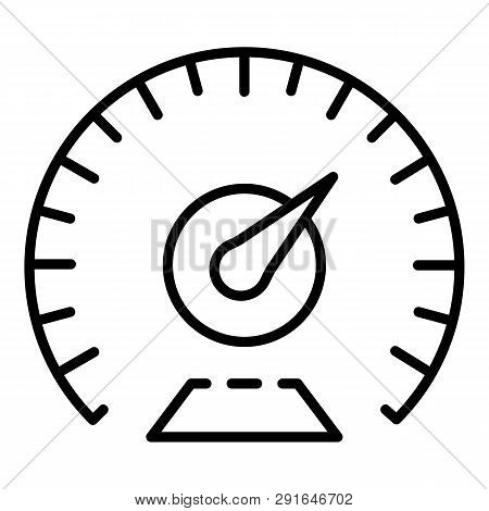 Km Per Hour Speedometer Icon. Outline Km Per Hour Speedometer Icon For Web Design Isolated On White