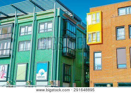 Vlissingen, The Netherlands - April 2015: Modern Architecture. Shopping Center